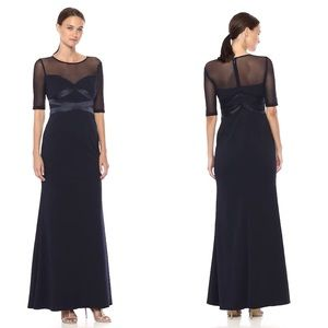 NWT Adrianna Papell Long Knit Crepe Dress Mesh